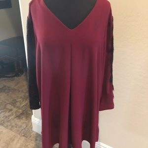 Burgundy with Black Lace Blouse